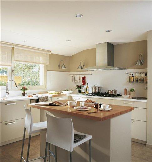 Cocinas la home for Cocina blanca y madera